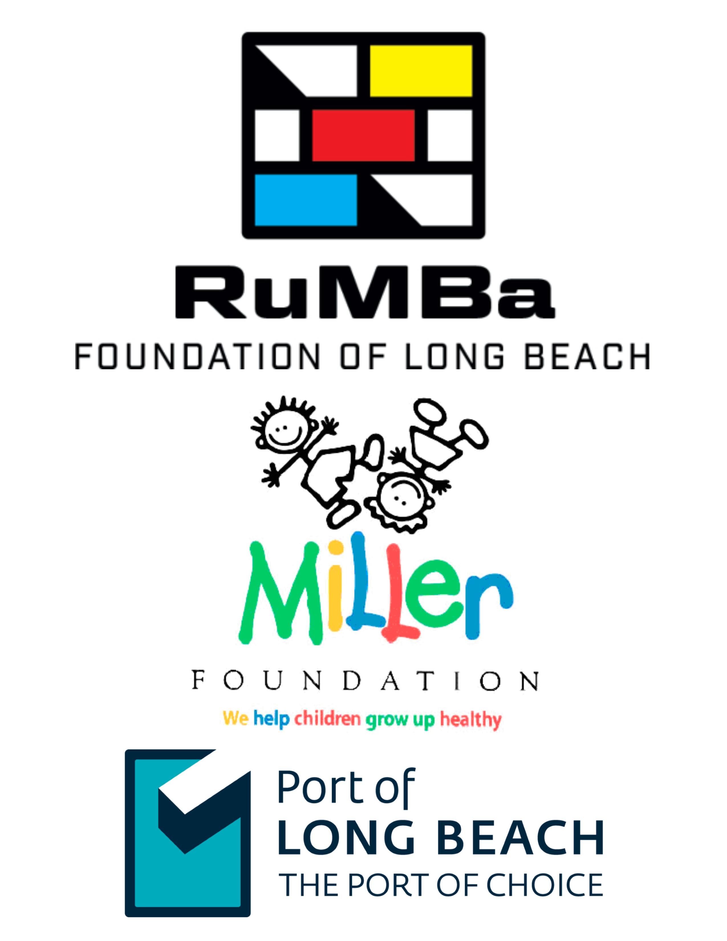 Logos for RuMBa Foundation of Long Beach, Miller Foundation and the Port of Long beach